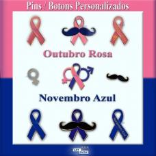 Pin em metal Outubro Rosa e Novembro Azul